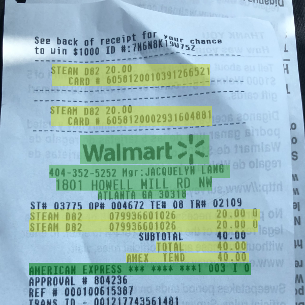 A walmart receipt with salient features highlighted and transcribed, like item code, quantity, price, last four digits of the credit card and the address of the store.